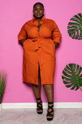 "Plus Size ""Independent"" Belted Shirt Dress - Rust"