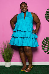 "Plus Size ""Let's Play House"" Layered Babydoll Dress - Turqouise"
