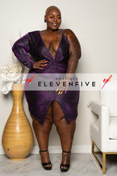 "Plus Size ""After Midnight"" One Shoulder Glitter Dress - Purple"