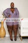 "Plus Size ""Soul Train"" Glitter Deep V Romper - Lavender"