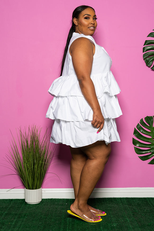 "Plus Size ""Let's Play House"" Layered Babydoll Dress - White"