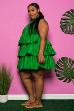"Plus Size ""Let's Play House"" Layered Babydoll Dress - Kelly Green"