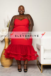 "Plus Size ""I've Arrived"" Tulle Mermaid Dress - Red"
