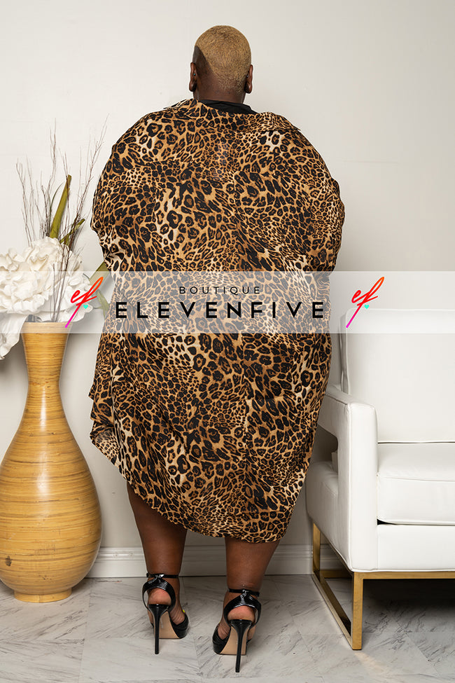 "Plus Size ""On Point"" Oversized Bat Wing Top -  Leopard"