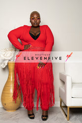 "Plus Size ""League of My Own"" Fringe Jumpsuit - Red"