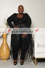 "Plus Size ""League of My Own"" Fringe Jumpsuit - Black"