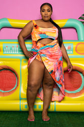 "Plus Size ""Hawaiian Babe"" Sarong Swim Set - Multi"