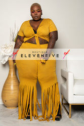 "Plus Size ''Around The Way Girl"" Fringe Pant Set - Mustard"