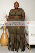 "Plus Size ''Around The Way Girl"" Fringe Pant Set - Olive"
