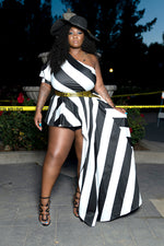 "Plus Size ""Charlotte"" Stripe One Shoulder Cascade Peplum Top - Black White"