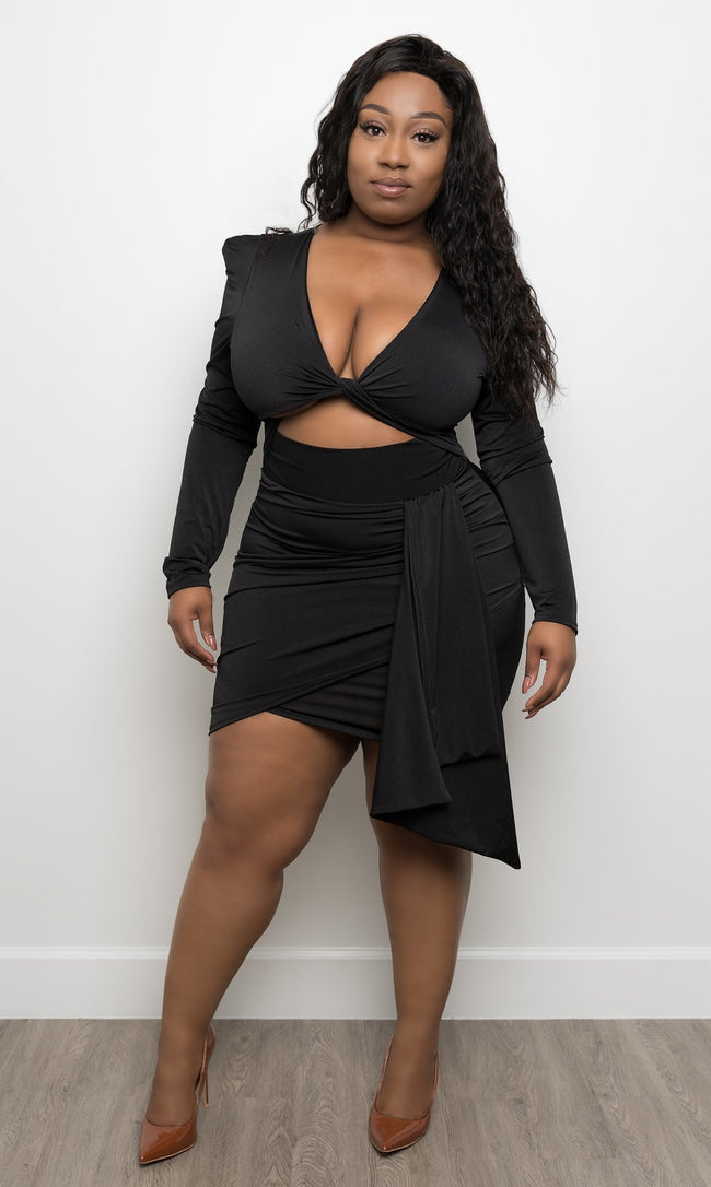 "Plus Size ""On Yo Neck"" Peek A Boo Dress - Black"