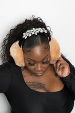 Furry Rhinestone Ear Muffs - Black - Boutique115