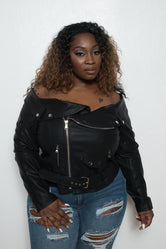 "Plus Size ""Hard Core"" Off Shoulder Faux Leather Moto Jacket - Black"