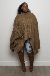 """Sena"" Plus Size Sweater Poncho - Brown"