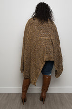 """Sena"" Plus Size Sweater Poncho - Brown - Boutique115"