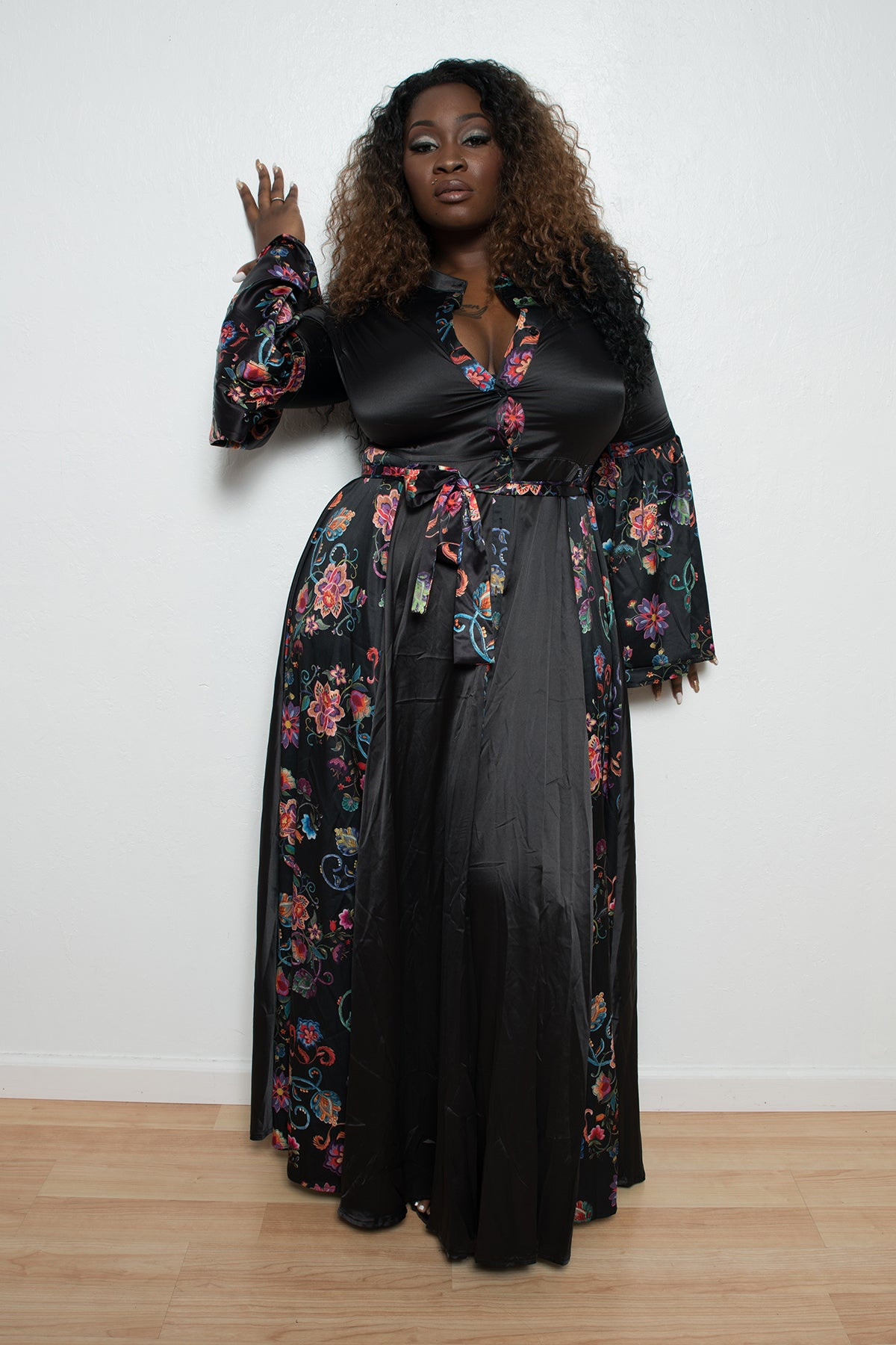 Plus Size Maxi Dress with Bell Sleeves
