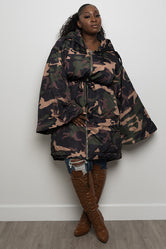 "Plus Size ""Glam Battle"" Camo Jacket - Olive"
