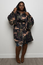"Plus Size ""Glam Battle"" Camo Jacket - Olive - Boutique115"