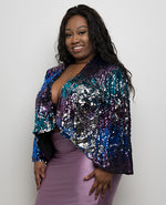 """Party Girl"" Ombre Sequin Party Jacket - Royal Blue - Boutique115"