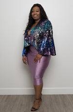"""Party Girl"" Ombre Sequin Party Jacket - Royal Blue"