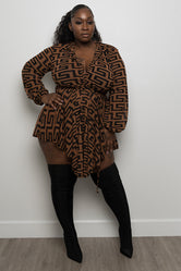 "Plus Size ""Follow Me"" Inspired Dress - Brown"