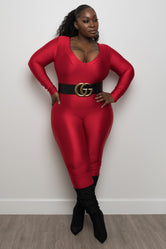 "Plus Size ""Simply Incredible"" Slinky Jumpsuit - Red"