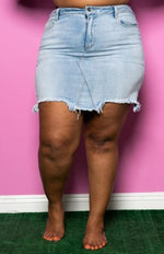 "Plus Size ""Baby Cakes"" Mini Jean Skirt - Light Denim Blue"