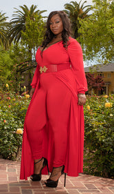 "PRE ORDER Plus Size ""Windsor"" Long Sleeve Maxi Dress Cape Jumpsuit - Red"