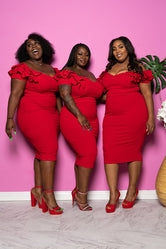 "Plus Size ""Plenty of Heat"" Cocktail Dress - Red"