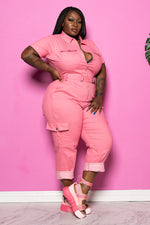 "Plus Size ""Pink Panther"" Cargo Denim Jumpsuit - Pink"