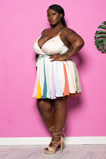 "Plus Size ""Carousel"" Baby Doll Dress - White Multi"