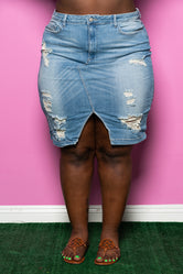 "Plus Size ""School Daze"" Jean Skirt - Medium Denim Blue"