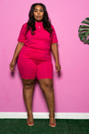 "Plus Size ""Best Friend"" Biker Short Set - Fuchsia"