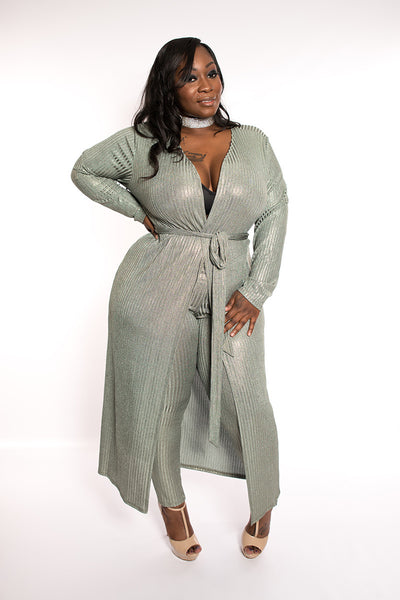 "Plus Size ""Kali"" 2 Piece Ribbed Duster Legging Set - Sage"