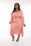 "Plus Size ""Lana"" 2 Piece Strapless Tube Dress Duster Set - Mauve"