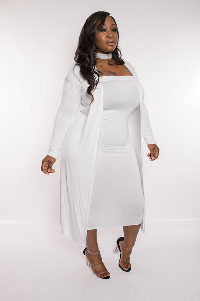 "Plus Size ""Lana"" 2 Piece Strapless Tube Dress Duster Set - White"