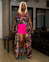 "Plus Size ""Krazy Sexy Kool"" Maxi Crop Top - Multi Fuchsia"