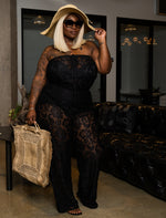 "Plus Size ""Set the Stage"" Lace Tube Jumpsuit -Black"