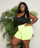 "Plus Size ""Bunny Hop"" Yoga Shorts - Bright Lime"