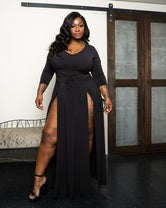 "Plus Size ""Panic Attack"" Black Maxi Dress - Black"