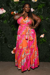 "Plus SIze ""Lovers Lane"" Tiered Maxi Dress - Fuchsia Orange"