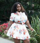"Plus Size ""Heather"" 2 Piece Babydoll Skirt Bow Tie Crop Top Set"