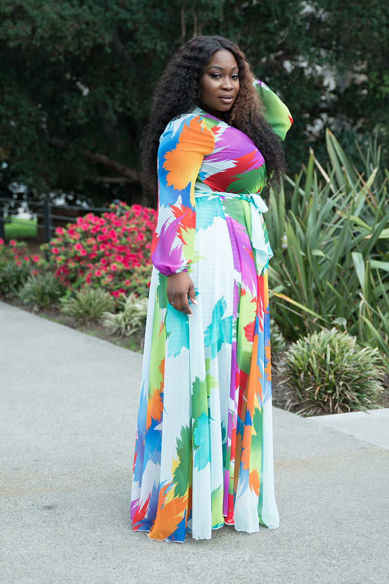 Plus Size Payton Belted Multi Color Leaf Maxi Dress Red Green