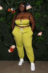 "Plus Size ""Get Out The Way"" Jogger Set - Lime"