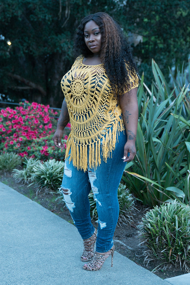 "Plus Size ""Willow"" Short Sleeve Crochet Fringe Top - Yellow Mustard"