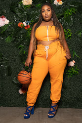 "Plus Size ""Get Out The Way"" Jogger Set - Orange"