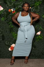 "Plus Size ""Show Me Off"" Fitted Ribbed Maxi Dress-Ash Blue"