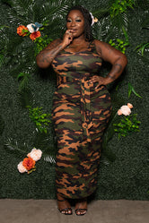 "Plus Size ""Show Me Off"" Fitted Ribbed Maxi Dress - Camo Green"