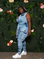 "Plus Size ""Entangled"" Shirt Tie Jumpsuit - Washed Medium Blue Jean"