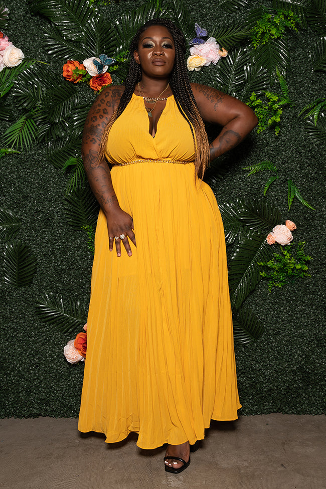 "Plus Size ""In the Spirit of Love"" Pleated Maxi Dress - Mustard Yellow"